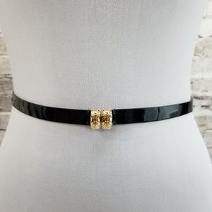 Kate Spade Gold Tone Owl Hook Black Patent Leather